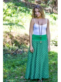 Nicole Long Cotton Voile Skirt – Spanish Green Print