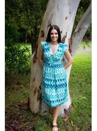 Chrissie Cotton Voile Tunic in Turquoise Ikat print