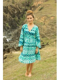 Shivani Dress - Turquoise Ikat Print