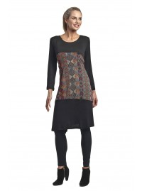 Rasa  PolyCotton Tieback Dress in Black Honeycomb Print