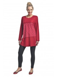 Hina Long Cotton Sleeve Tunic - Red Hannashippo Print