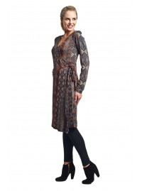 Guru L/S Wrap Dress -Black Honeycomb Print