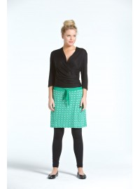 Misaki Cotton Skirt- Green Hanakhoushi print