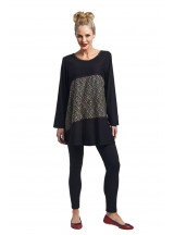 Sana Long Cotton Sleeve Tunic - Black Seigaiha Print