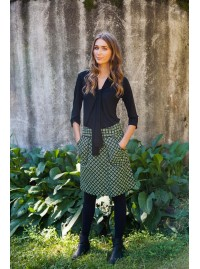 Melissa A Line Cotton Skirt - Domino  Print