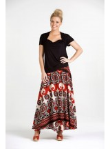 Nicole Long Cotton Voile Skirt – Retro  Print