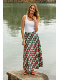 Grace Long Cotton Wrap Skirt - Biba Print