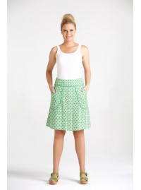 Melissa A Line Cotton Skirt - Green Daisy Print