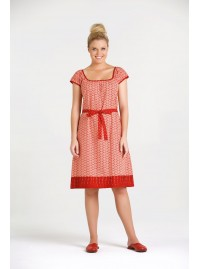 Lydia  Cotton Tunic Dress - Red Fan   & Spot Print