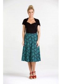 Beth Cotton Wrap Skirt – Seagrass  Print