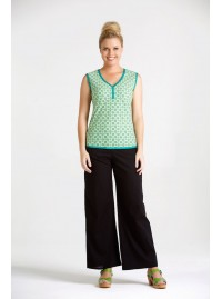 Ali Cotton Trim Top - Green Daisy Print