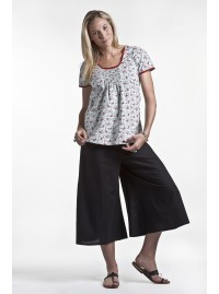 Sarah 3/4 Cotton Pant -Plain Black