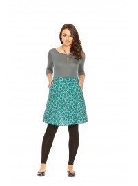 Melissa A Line Cotton Skirt - Cornflower Print