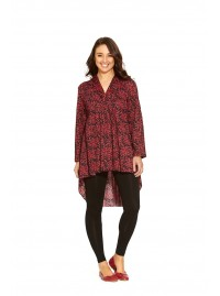 Beatrice Cotton Tunic in Purple Flame  Print