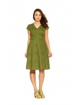 Astrid Cotton Wrap Dress - Green Squiggle  Print