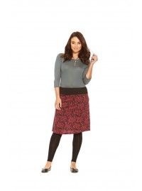 Maggie Stretch Cotton Skirt- Purple Flame print