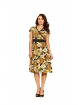 Leela Cotton Wrap Dress - Klimt Print