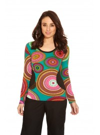 Jyoti Cotton  Top - Green Circle  Print