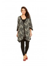 Mao  Cotton Poncho in Black  Kuri Kara Print