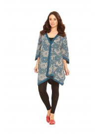 Mao  Cotton Poncho in Blue  Kuri Kara Print