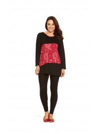 Izumi Long Sleeve Cotton Tunic - Black -Red Kiku Kara   Print