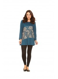 Izumi Long Sleeve Cotton Tunic - Blue-Cream Kiku Kara   Print