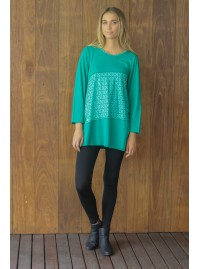 Yuni Long Sleeve Cotton Tunic - Green Hanakhoushi  Print