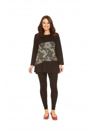 Izumi Long Sleeve Cotton Tunic - Black -Cream Kiku Kara   Print