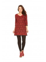 Cassandra Cotton Braid Dress Red Flame Print