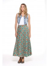 Grace Long Cotton Wrap Skirt - Capri  Print