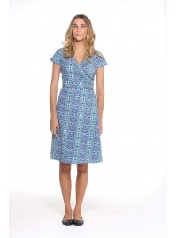 Astrid Cotton Wrap Dress - Santorini Print