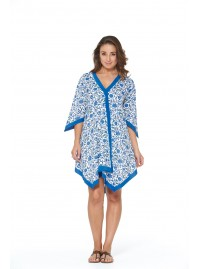 Libby Cotton Voile Poncho  in Mahal  Print