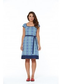 Camille Cotton Tunic Dress - Santorini Print