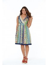 Paloma Cotton 50's 2 print Dress- Palais Print + Navy Spot