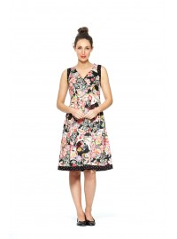 Paloma Cotton 50's 2 print Dress- Tokyo  + Black Spot Prints