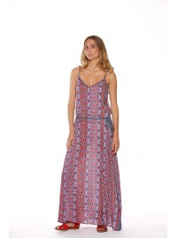 Clarissa Strappy Maxi Dress - Sol Red Print
