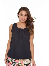 Dotty Cotton Top - Plain Black