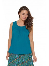 Dotty Cotton Top - Plain Teal