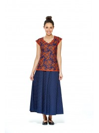 Grace Long Cotton Wrap Skirt - Navy Spot Print