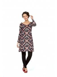 Poppy L/S Stretch Cotton  Tunic - Fuji  Print