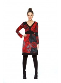 Origami Cotton Mixed Print Dress - Red