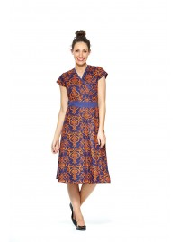 Leela Cotton Wrap Dress - Navy Garland  Print