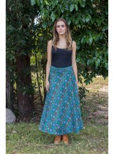 Grace Long Cotton Wrap Skirt - Patchwork  Print