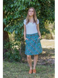 Melissa A Line Cotton Skirt - Patchwork Print