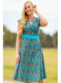 Leela Cotton Wrap Dress - Patchwork  Print