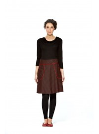 Melissa A Line Cotton Skirt - Black -Red Spot Print
