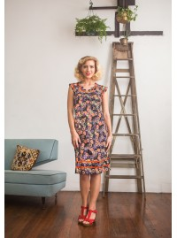 Cassy Cotton Braid Dress Fuji Print
