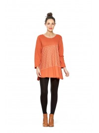Umi Long Sleeve Cotton Tunic - Orange -Shippo  Print