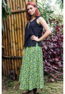 Grace Long Cotton Wrap Skirt - Lime Paisley  Print
