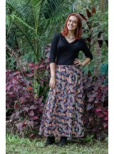 Grace Long Cotton Wrap Skirt - Fuji Print